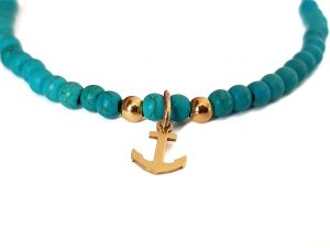 """Semiprecious mini anchor"" narukvica"